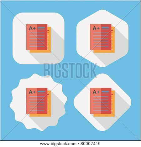 A Plus Grade In The Notebook,flat Icon With Long Shadow,