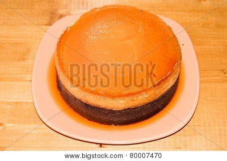 Chocolate and creme brûlée cake
