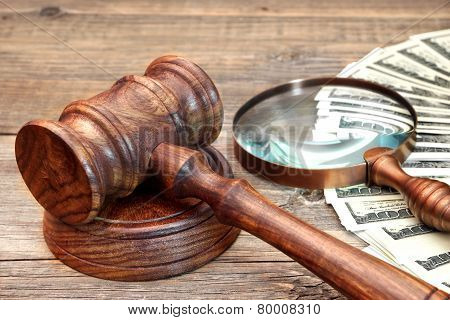 Gavel, Usa Dollars And Vintage Magnifying Glass
