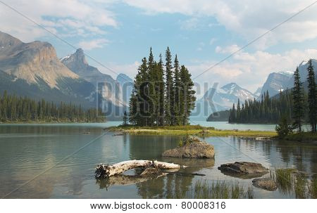 Canadian Landscape With Spirit Island. Jasper. Alberta