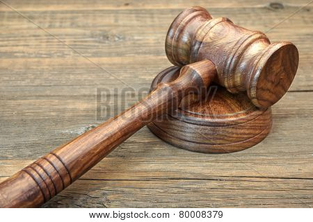 Wooden Judges Gavel And Soundboard Close-up
