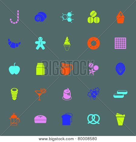 Sweet Food Color Icons On Gray Background
