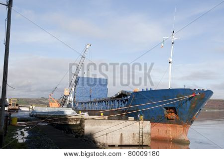 Ship Being Loaded With Steel