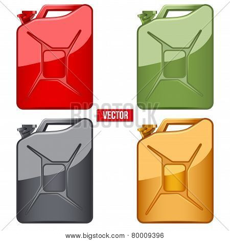 Set of Fuel container jerrycan. Gasoline canister.