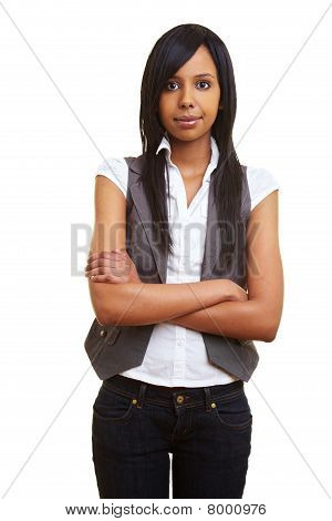 Sceptical African Girl With Arms Crossed
