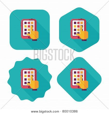 Hand Touching Screen Flat Icon With Long Shadow,eps10