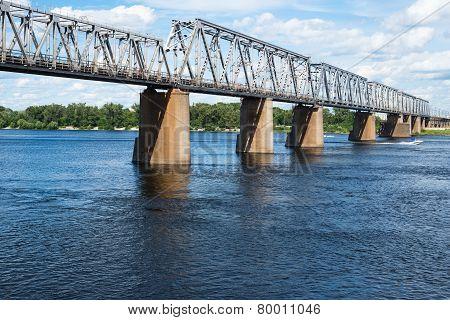 Petrivskiy Railroad Bridge In Kyiv (ukraine) Across The Dnieper