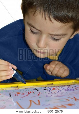 Young Boy Write