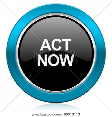 act now glossy icon