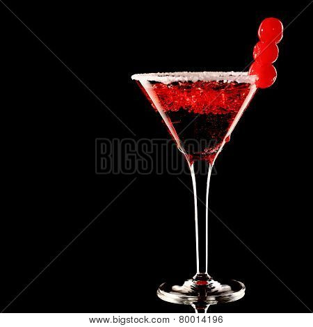Cosmopolitan Martini Fresh Coctail Isolated On Black