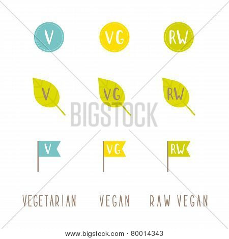 Vegetarian, vegan, raw vegan tags.