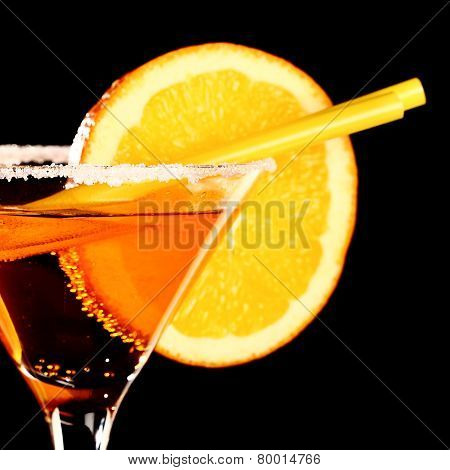 Orange Margareta Fresh Coctail Isolated On Black