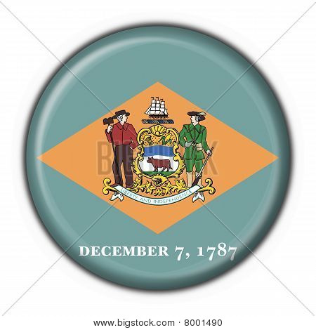 Delaware (usa State) Button Flag Round Shape