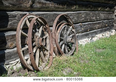Old Wheel From Carts In The Countryside