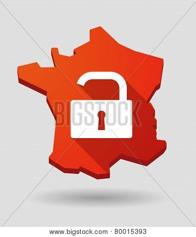 Long Shadow France Map Icon With An Open Lock Pad