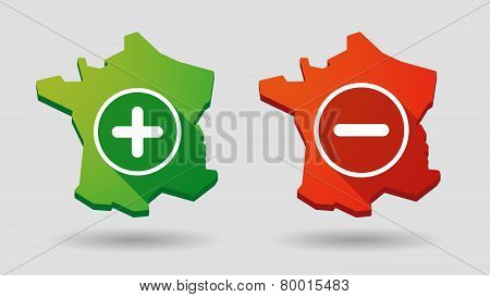 Long Shadow France Map  Math Sign Icon Set