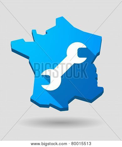 Long Shadow France Map Icon With A Monkey Wrench