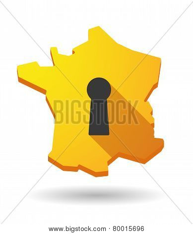 Long Shadow France Map Icon With A Key Hole