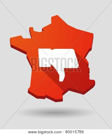 Long Shadow France Map Icon With A Thumb Hand