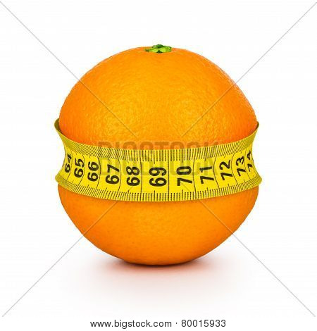 Orange Tightened Measuring Tape On A White Background. Concept Slim Figure.