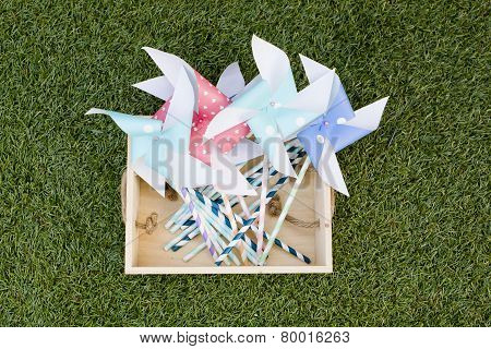 Colorful Toy Pinwheel Against Green Grass Background