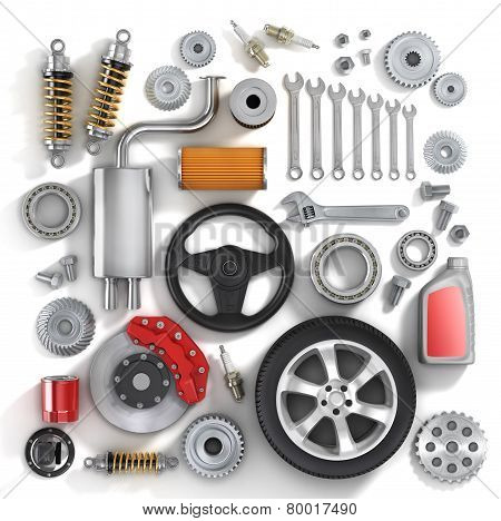 Set Of Parts Of Car.