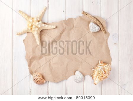 Summer time sea vacation background with star fish