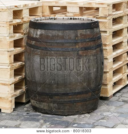 Old wooden wine barrels in the wine.