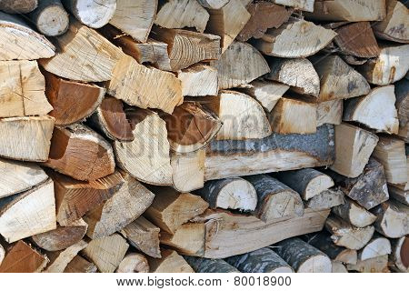 Woodshed With Pieces Of Wood Cut