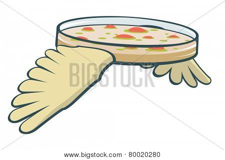 Editable vector cartoon of a petri dish with wings illustrating the dangers of air traffic incubating and transporting microbes around the globe