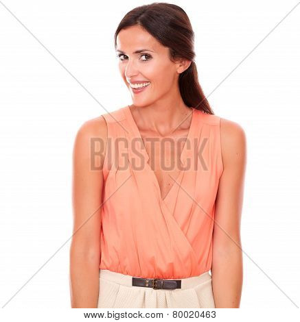 Attractive Hispanic Lady In Elegant Blouse Smiling