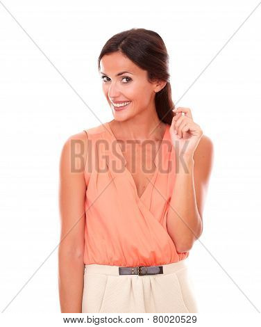 Attracitve Young Lady In Elegant Blouse Smiling