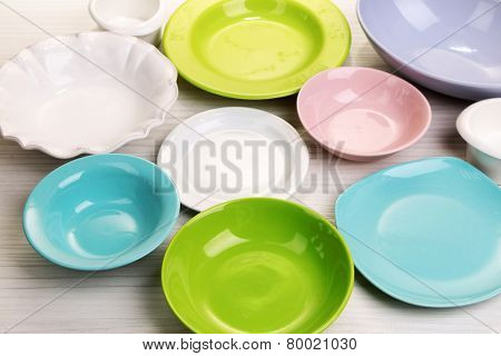 Different tableware on table