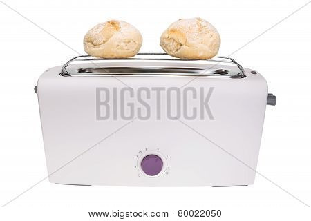 Toaster And Fresh Baked Buns. For Breakfast.