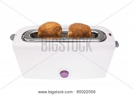 Ready Crunchy Croutons Baked In A Toaster. On A White Background.