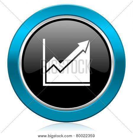 histogram glossy icon stock sign