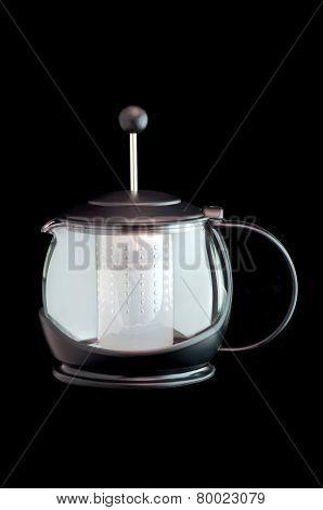 Glass Teapot Against Black