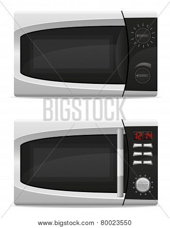 Microwave Oven With Mechanical And Electronically Controlled Vector Illustration