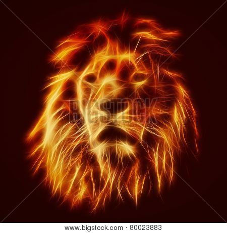 Abstract, artistic lion portrait. Fire flames fur, black background. Big adult lion with rich mane.