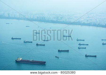Commercial Shipping Off The Coast Of Singapore