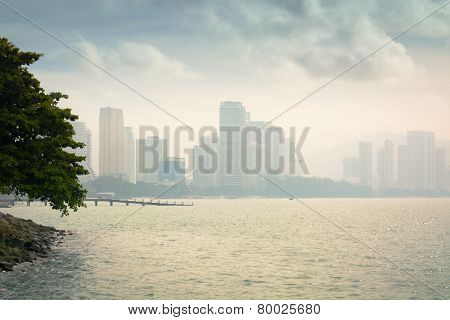 Penang, Malaysia Skyline From Across The Water
