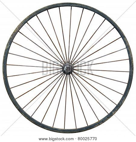 Wagon Wheel Against A White Background