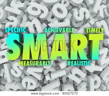 SMART goals or objectives with criteria such as Specific, Measurable, Achievable, Realistic and Timely as a new mission you must complete