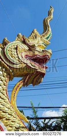Golden Naga Snake Statue