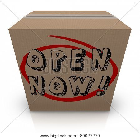 Open Now words on a cardboard box as a special urgent delivery you must immediately see inside for critical or important contents