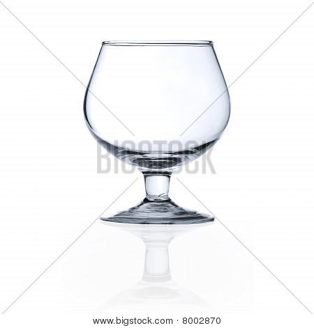 An Empty Glass Goblet Over White