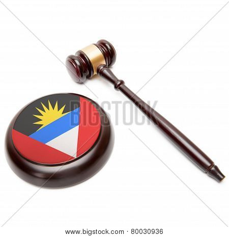 Judge Gavel And Soundboard With National Flag On It - Antigua And Barbuda
