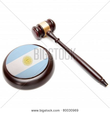 Judge Gavel And Soundboard With National Flag On It - Argentina