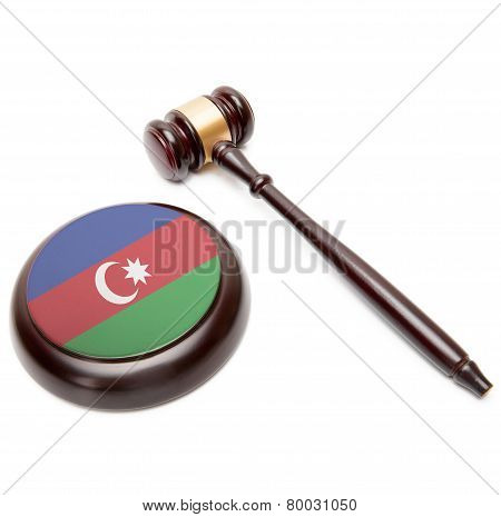 Judge Gavel And Soundboard With National Flag On It - Azerbaijan