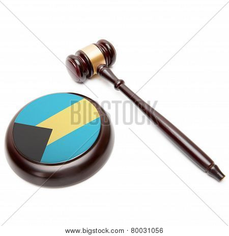 Judge Gavel And Soundboard With National Flag On It - Bahamas